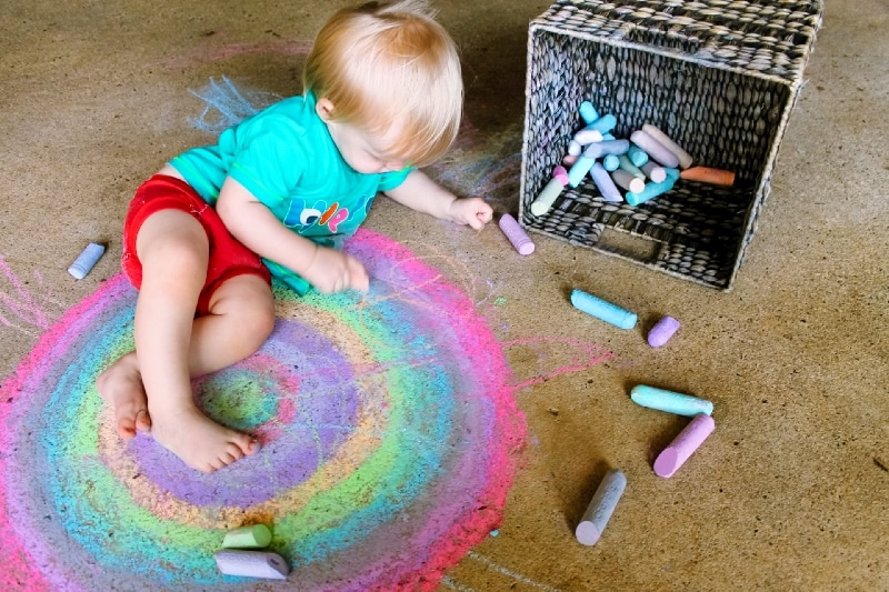 rainbow child chalk